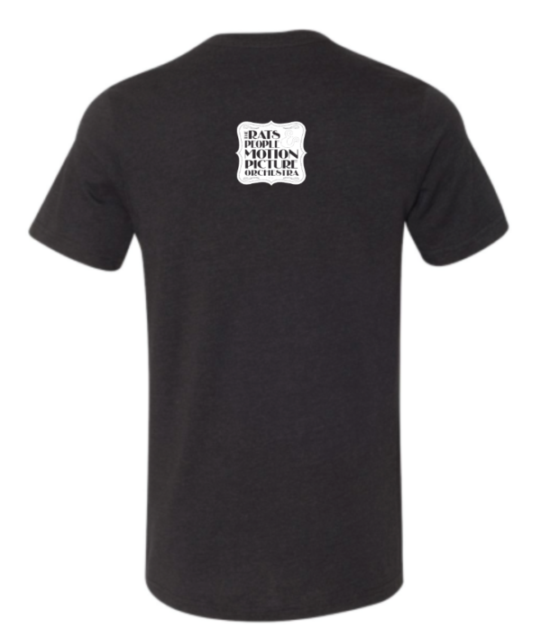 Black tshirt with white Rats and people logo at the top
