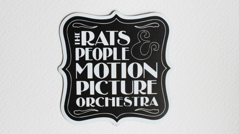 Rats and People logo sticker, black and white square design