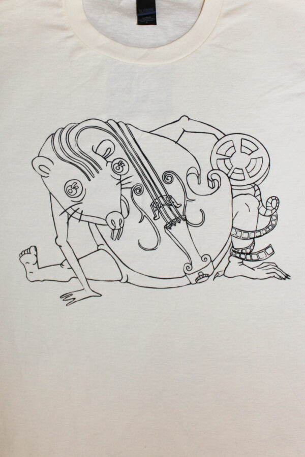 White shirt with a contorted cello rat design