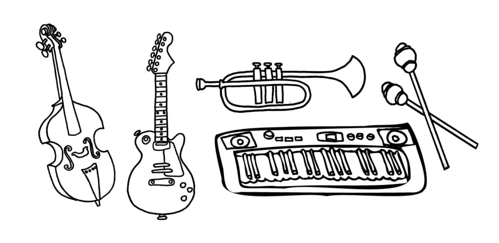 Hand drawn cello, guitar, trumpet, keyboard, and drum sticks